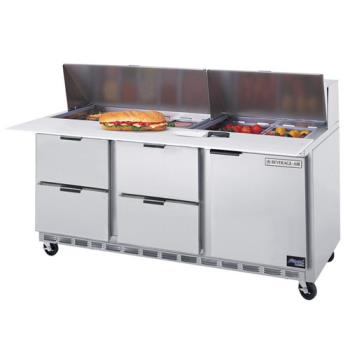 BEVSPED7208C4 - Beverage Air - SPED72-08C-4 - 72 in 4 Drawer Cutting Top Prep Table with 8 Pans Product Image