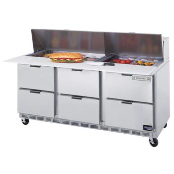 BEVSPED7208C6 - Beverage Air - SPED72-08C-6 - 72 in 6 Drawer Cutting Top Prep Table with 8 Pans Product Image