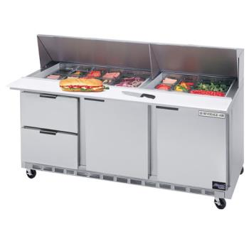 BEVSPED72102 - Beverage Air - SPED72-10-2 - 72 in 2 Drawer Sandwich Prep Table with 10 Pans Product Image