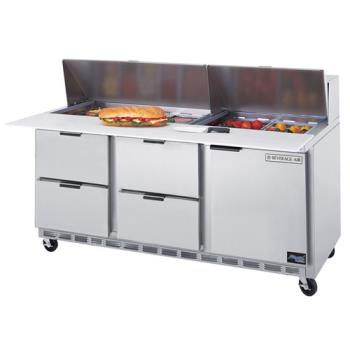 BEVSPED7212C4 - Beverage Air - SPED72-12C-4 - 72 in 4 Drawer Cutting Top Prep Table with 12 Pans Product Image