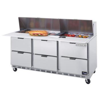 BEVSPED7212C6 - Beverage Air - SPED72-12C-6 - 72 in 6 Drawer Cutting Top Prep Table with 12 Pans Product Image