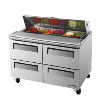 TURTST48SDD4 - Turbo Air - TST-48SD-D4 - Super Deluxe Series 48 in Prep Unit w/4 Drawers Product Image