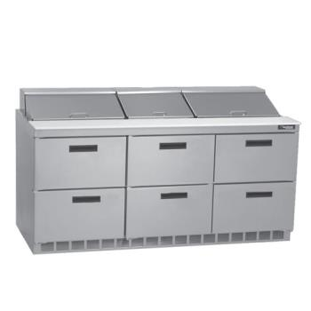 DELD4472N30M - Delfield - D4472N-30M - 3 Section 72 1/8 inMega Top Refrigerated Base w/ Drawers Product Image