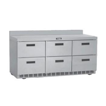 DELSTD4472N - Delfield - STD4472N - 3 Section 72 1/8 in Flat Top Refrigerated Base w/ Drawers Product Image
