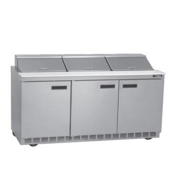 DELUC4472N18 - Delfield - UC4472N-18 - 3 Section 72 1/8 in Salad Top Refrigerated Base w/ Doors Product Image