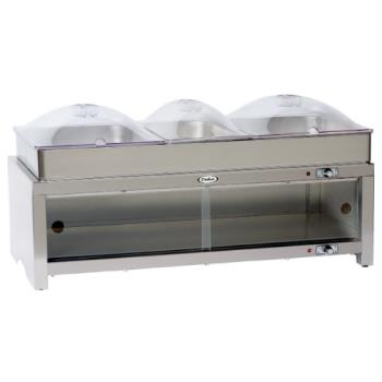 CDOCMLBCSLP - Cadco - CMLB-CSLP - Warming Cabinet with Buffet Server and Clear Lids Product Image