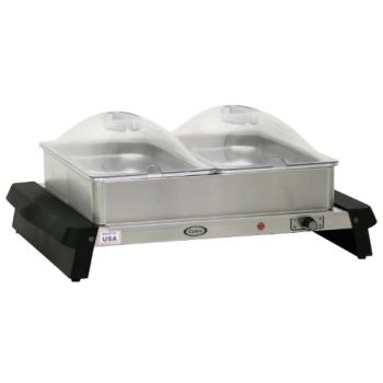 CDOWTBS23P - Cadco - WTBS-23P - Double Buffet Server with Clear Lids Product Image