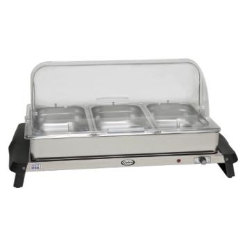 CDOWTBS3RT - Cadco - WTBS-3RT - Triple Buffet Server with Clear Rolltop Lids Product Image