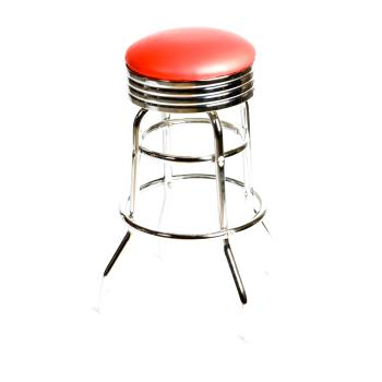 OAKSL2131RED - Oak Street - SL2131-RED - Red  Retro Style Stool w/Chrome Frame Product Image