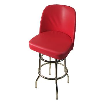 OAKSL2134RED - Oak Street - SL2134-RED - Red Bucket Seat Barstool w/Chrome Frame Product Image