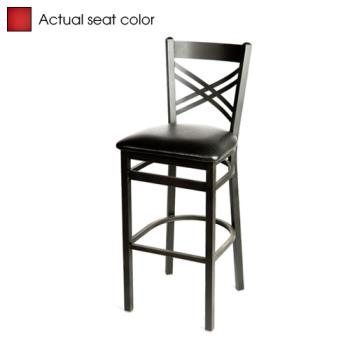 OAKSL21301RED - Oak Street - SL2130-1-RED - Crossback Barstool w/Red Vinyl Seat Product Image