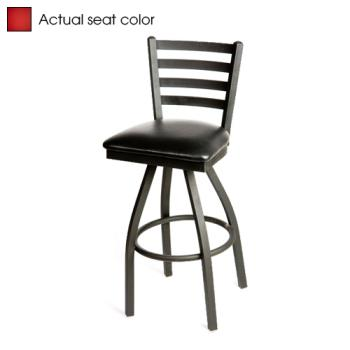OAKSL2301SRED - Oak Street - SL2301S-RED - Ladderback Swivel Barstool w/Red Vinyl Seat Product Image