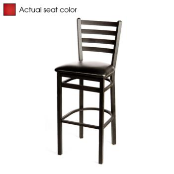 OAKSL3301RED - Oak Street - SL3301-RED - Extra-Large Ladderback Barstool Chair w/Red Vinyl Seat Product Image