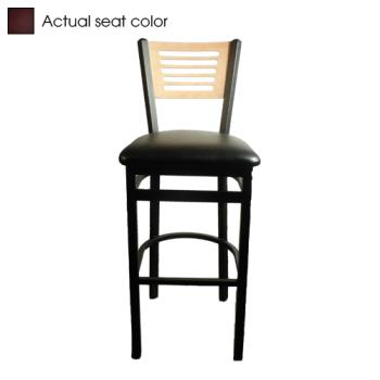 OAKSL215015NWINE - Oak Street - SL2150-1-5-N-WINE - 5-Line Natural Wood Back Barstool w/Wine  Vinyl Seat Product Image
