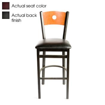 OAKSL21501BBWINE - Oak Street - SL2150-1-B-B-WINE - Bull's-eye Black Wood Back Barstool w/Wine Vinyl Seat Product Image