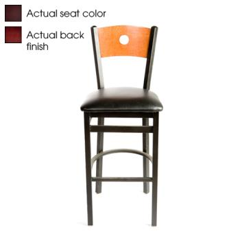 OAKSL21501BMWINE - Oak Street - SL2150-1-B-M-WINE - Bull's-eye Walnut Wood Back Barstool w/Wine Vinyl Seat Product Image