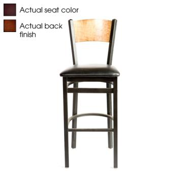 OAKSL21501PWWINE - Oak Street - SL2150-1-P-W-WINE - Walnut Wood Back Barstool w/Wine Vinyl Seat Product Image