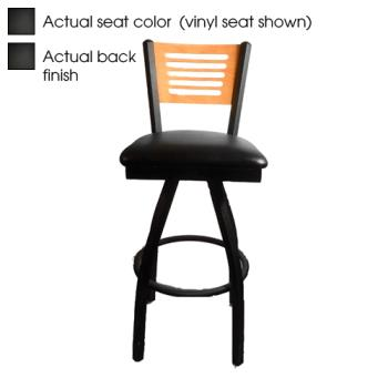 OAKSL21501S5B - Oak Street - SL2150-1S-5-B - 5-Line Black Wood Back & Seat Swivel Barstool Product Image