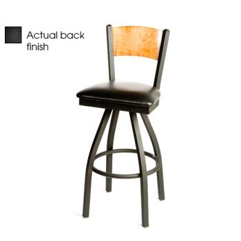 OAKSL21501SPBBLK - Oak Street - SL2150-1S-P-B-BLK - Plain Black Wood Back Swivel Barstool w/Black Vinyl Seat Product Image