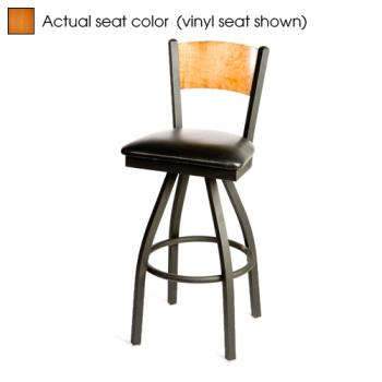 OAKSL21501SPC - Oak Street - SL2150-1S-P-C - Plain Cherry Wood Back & Seat Swivel Barstool Product Image