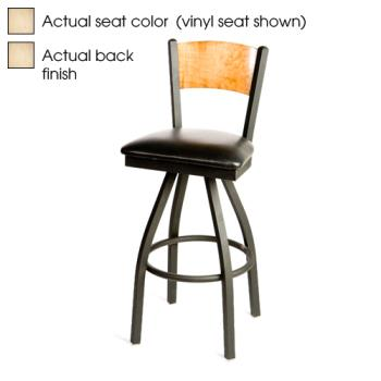 OAKSL21501SPN - Oak Street - SL2150-1S-P-N - Plain Natural Wood Back & Seat Swivel Barstool Product Image