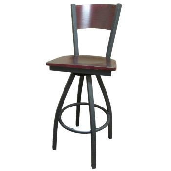 OAKSL21501SPW - Oak Street - SL2150-1S-P-W - Plain Walnut Wood  Back & Seat Swivel Barstool Product Image