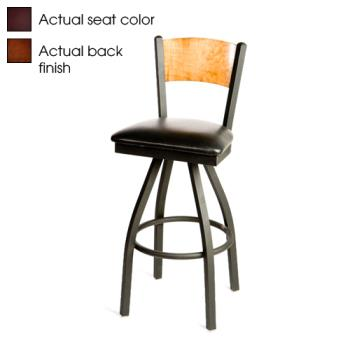 OAKSL21501SPWWINE - Oak Street - SL2150-1S-P-W-WINE - Plain Walnut Wood  Back Swivel Barstool w/Wine Vinyl Seat Product Image