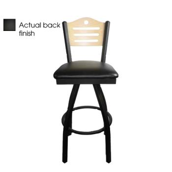 OAKSL21501SSHBBLK - Oak Street - SL2150-1S-SH-B-BLK - Shoreline Black Wood Back  Swivel Barstool w/Black Vinyl Seat Product Image
