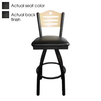 OAKSL21501SSHB - Oak Street - SL2150-1S-SH-B - Shoreline Black Wood Back & Seat Swivel Barstool Product Image