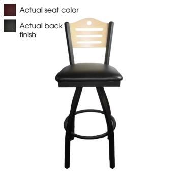 OAKSL21501SSHBWINE - Oak Street - SL2150-1S-SH-B-WINE - Shoreline Black Wood Back Swivel Barstool w/Wine Vinyl Seat Product Image