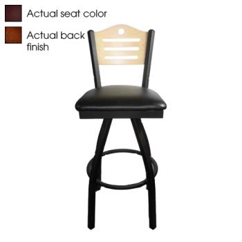 OAKSL21501SSHWBLK - Oak Street - SL2150-1S-SH-W-BLK - Shoreline Walnut Wood  Back Swivel Barstool w/Black Vinyl Seat Product Image