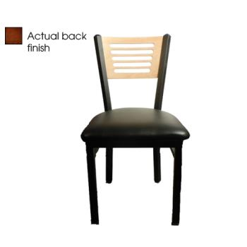 OAKSL21505WBLK - Oak Street - SL2150-5-W-BLK - 5-Line Walnut Wood  Back Chair w/Black Vinyl Seat Product Image