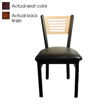 OAKSL21505WWINE - Oak Street - SL2150-5-W-WINE - 5-Line Walnut Wood  Back Chair w/Wine Vinyl Seat Product Image