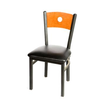 OAKSL2150BCBLK - Oak Street - SL2150-B-C-BLK - Bull's-eye Cherry Wood Back Chair w/Black Vinyl Seat Product Image