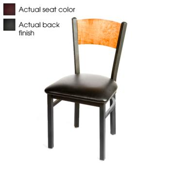 OAKSL2150PBWINE - Oak Street - SL2150-P-B-WINE - Plain Black Wood Back Chair w/Wine Vinyl Seat Product Image