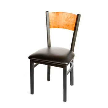 OAKSL2150PCBLK - Oak Street - SL2150-P-C-BLK - Plain Cherry Wood Back Chair w/Black Vinyl Seat Product Image