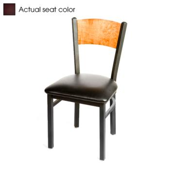 OAKSL2150PCWINE - Oak Street - SL2150-P-C-WINE - Plain Cherry Wood Back Chair w/Wine Vinyl Seat Product Image