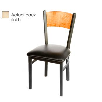 OAKSL2150PNBLK - Oak Street - SL2150-P-N-BLK - Plain Natural Wood Back Chair w/Black Vinyl Seat Product Image
