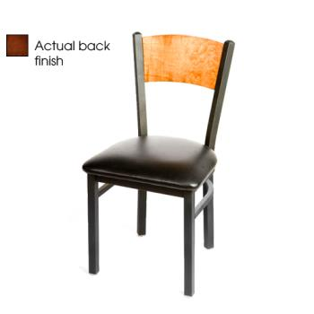 OAKSL2150PWBLK - Oak Street - SL2150-P-W-BLK - Plain Walnut Wood  Back Chair w/Black Vinyl Seat Product Image