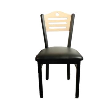 OAKSL2150SHNBLK - Oak Street - SL2150-SH-N-BLK - Shoreline Natural Wood Back Chair w/Black Vinyl Seat Product Image