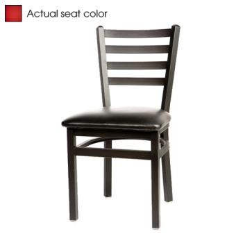 OAKSL2160RED - Oak Street - SL2160-RED - Ladderback Dining Chair w/Red Vinyl Seat Product Image