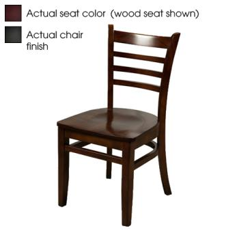 OAKWC101BWINE - Oak Street - WC101-B-WINE - Ladderback Black Wood Chair w/Wine Vinyl Seat Product Image