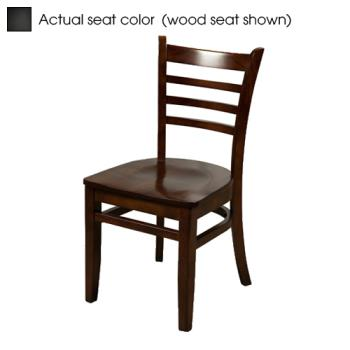 OAKWC101WBLK - Oak Street - WC101-W-BLK - Ladderback Walnut Wood Chair w/Black Vinyl Seat Product Image