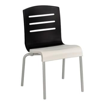 GFXUS041017 - Grosfillex - US041017 - Black/White Domino Sidechair - 4 Pack Product Image
