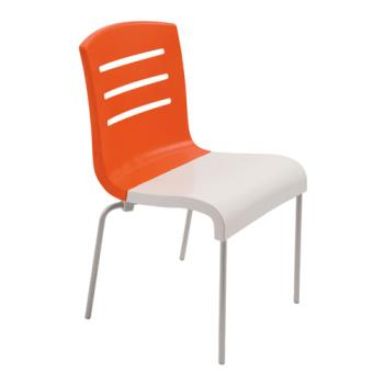 GFXUS041019 - Grosfillex - US041019 - Orange/White Domino Sidechair - 4 Pack Product Image