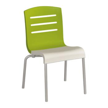 GFXUS041152 - Grosfillex - US041152 - Green/White Domino Sidechair - 4 Pack Product Image