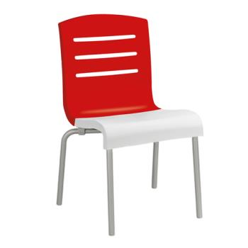 GFXUS041414 - Grosfillex - US041414 - Red/White Domino Sidechair - 4 Pack Product Image
