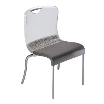 GFXUS203206 - Grosfillex - US203206 - Krystal Clear/Charcoal Indoor Chair Product Image
