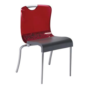 GFXXD203207 - Grosfillex - XD203207 - Krystal Red/Charcoal Indoor Chair Product Image