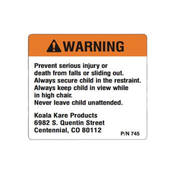 69202 - Koala - 745 - Classic High Chair Warning Label Product Image